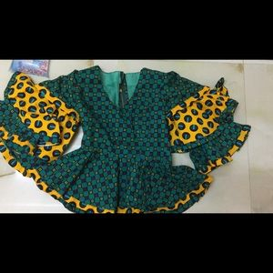 Ankara Blouse with large Flowy Sleeve with belt